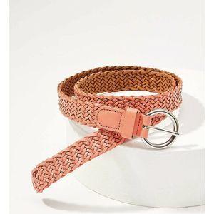 Ann Taylor Loft Braided Leather Belt Coral